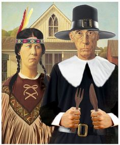repost for thanksgiving American Gothic Thanksgiving American Gothic Painting, American Gothic House, Grant Wood American Gothic, American Gothic Parody, American Art, Grant Wood Paintings, Classic Paintings, Mona Lisa, Thoughts