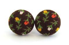 Brown button earrings studs vintage style flower by KooKooCraft, $10