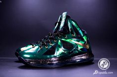 "Nike LeBron X ""Emerald"" Customs by Diversitile"