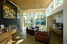 Clerestory window family room contemporary interior designs with wood ceiling floating cabinets