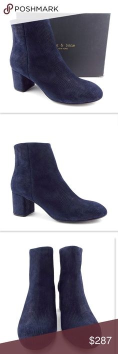 New RAG&BONE Blue Channel Suede Chelsea Booties 41 RAG & BONE 100% Authentic! Blue Channel Suede Leather Ankle Boots Block Heel, Back zip Size 41 Eur Made in Italy New without box. All actual photos of the item except for pic #4. rag & bone Shoes Ankle Boots & Booties
