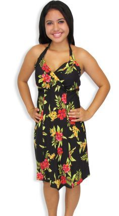 d4ca25ca3fe This stunning Hawaiian dress can easily take you from day to night. You ll  feel fabulous wearing it. Beach Style Short Black Dress - Luau Rayon Fabric  ...
