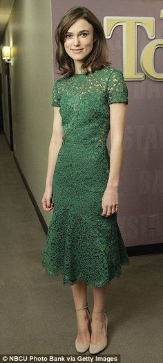 aba60182b70 Demure  Keira wore a green mid length lace dress with a pair of stone  coloured