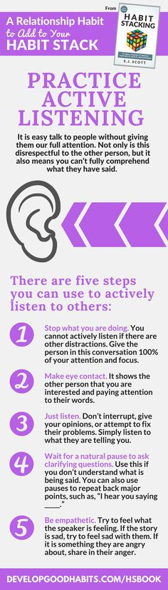 Practice active listening.  Active listening is an essential part of effective communication with others.  Find out 127 more tips to improve your life and make better habits in the new HABIT STACKING book.  Find out more....