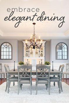 Dining Room Decor Elegant, Dining Room Design, Dining Room Table, Dining Rooms, Home Living Room, Living Room Decor, Estilo Interior, Esstisch Design, Piece A Vivre