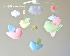 Baby Crib Mobile - Custom Baby Mobile - Bird Mobile - Birds Mobile - Baby Girl Mobile - Molly Bedding. $90.00, via Etsy.