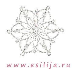 Схема для вязания новогодней снежинки