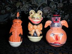 Vintage Halloween Toys ~ Viscoloid Celluloid Roly Polys * Witch, Black Cat & Jack O' Lantern w/ Owl
