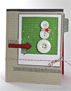 Cute idea to use buttons as a snowman on a scrapbook page. Card by Julie Campbell using our SOCK HOP card kit