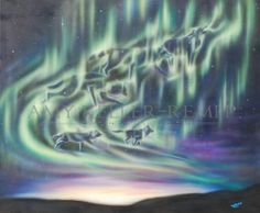 Sky Dance Series of a wolf pack by Amy Keller-Rempp Art. bt acrylic on canvas. Original sold, giclee prints and fine art cards available. Canadian Wildlife, Aboriginal Artists, Art Cards, Spirit Animal, Giclee Print, Northern Lights, Amy, Wolf, Dance
