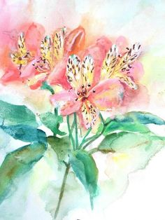 Art Flowers, Flower Art, Floral Watercolor, Watercolor Paintings, Ideas, Art Floral, Water Colors, Flower Watercolor, Watercolor Painting