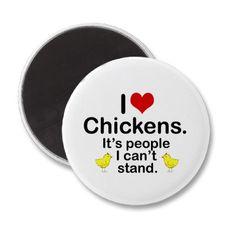 I (Heart) Chickens Fridge Magnet by Citygirlfarming