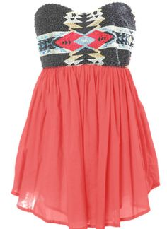 dress, tribal, short dress, pink, aztec, beaded, flowy - Wheretoget LOVE IT