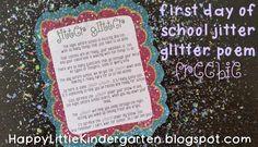 Ms. Lovenberg's Happy Little Kindergarten: Jitter Glitter: Back to School FREEBIE