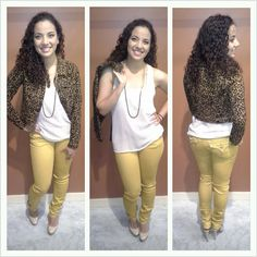 """Mustard Miss Me Jeans, """"SIS"""" Nude Top and 'ChiQle' Leopard Print Jacket ~ Apricot Lane Boutique South Florida"""