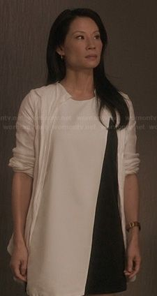 Joan's black and white asymmetric colorblock dress on Elementary.  Outfit Details: http://wornontv.net/22634/ #Elementary