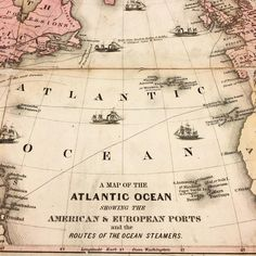"""Sail away! Routes of the ocean steamers from an inset map in the 1859 """"Colton's Map of the United States of America, the British Provinces, the West Indies and Central America with part of New Grenada and Venezuela"""" (phew!) with a beautiful ornamental border with of vignettes of national monuments. #mappingthenation #maps #nypl #atlanticocean #19thc #19thcenturyhistory #history #cartography #mapmonday http://ift.tt/1NvyH5w"""