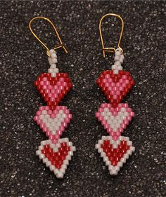 Heart Trio Earrings by HandMadeBeadedCrafts on Etsy