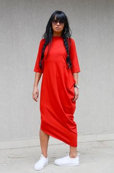 Asymmetrical Red Dress with Raglan Sleeves, Long Loose Everyday Dress, Oversize Garden Party Dress, Urban Style Comfortable Dress, Plus Size - MY STYLE - Urban Fashion, Look Fashion, Fashion Outfits, Womens Fashion, Stylish Dresses, Casual Dresses, Summer Dresses, Red Dress Outfit Casual, Loose Dresses