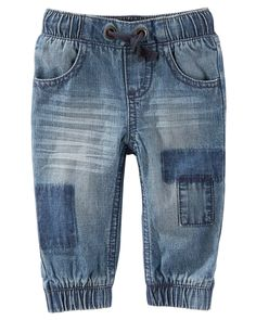 Baby Boy Pull-On Patchwork Denim Joggers from OshKosh B'gosh. Shop clothing & accessories from a trusted name in kids, toddlers, and baby clothes.