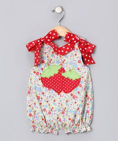 Strawberry Applique Idea: Strawberry Bow Bubble Bodysuit - Infant by Secret Wishes on #zulily today!