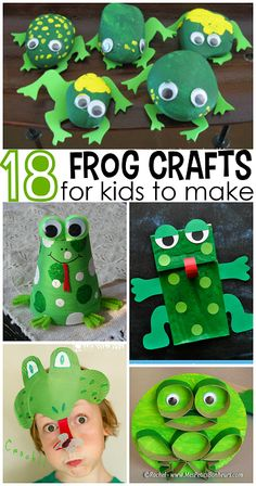 Cute Frog Crafts for Kids to Create (Fun for bulletin boards, door decorations, and more in the frog theme classroom! Crafts For Kids To Make, Kids Crafts, Art For Kids, Arts And Crafts, Green Crafts For Kids, Frog Activities, Cute Frogs, Camping Crafts, Safari Crafts