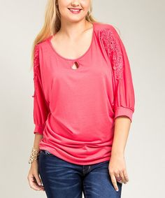 Another great find on #zulily! Coral Lace Appliqué Dolman Top - Plus #zulilyfinds