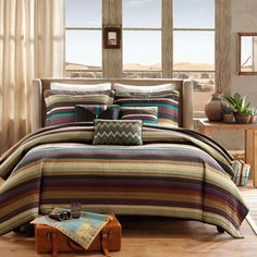 Sedona Life Southwest Turquoise Native American Quilt, Shams, 3 Decorative Pillows + Home Style Exclusive Sleep Mask Lodge Cabin Southwestern Bedding Bundle (King/California King) Native American Bedroom, Southwestern Bedding, Southwest Bedroom, Beach Bedding Sets, Daybed Sets, Indian Bedding, Striped Quilt, Queen Comforter Sets, Queen Quilt