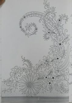 Border Embroidery Designs, Floral Embroidery Patterns, Embroidery Motifs, Beaded Embroidery, Textile Pattern Design, Flower Pattern Design, Textile Patterns, Jewelry Design Drawing, Wedding Embroidery