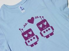 robots <3    Little Robots in Love Womens T Shirt M to 2XL by DogboneArt, $18.00
