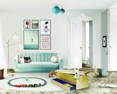 kids' playroom can have a bright style, start with Brabbu's Oreas sofa in a soft pastel green. Bring in the light with this sophisticated Sinatra floor lamp by Delightfull to complete a luxury design experience.