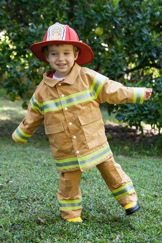 Kid's Fireman Costume from Peek A Boo's Puddle Jumper — Pattern Revolution