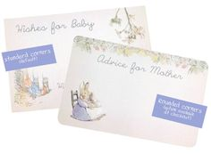 These Peter Rabbit Wishes for Baby / Advice for Mother / Wishes for Mother / Advice for Mommy cards are a wonderful addition to an already vintage chic baby shower. As pictured is a 4x6 or 5x7 (If you need another size, just include that in the comments section). This is completely customizable. Wording can be changed to your liking and images can be rearranged if youd prefer. Wishes for Baby side can be blank or with phrases.  These are sold in sets of 25. If you need another ...