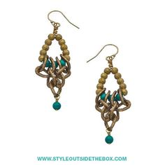 Sumptuous, textured gold beads for the hoop in these gold beaded hoop and turquoise drop earrings.