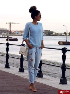 ripped jeans, stilettos, blue sweater, elegant style