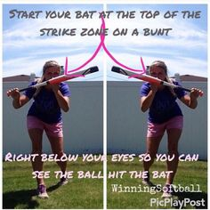 One of the most overlooked skills in the game- the bunt! Softball Crafts, Softball Bows, Softball Coach, Softball Shirts, Softball Catcher, Girls Softball, Baseball Mom, Baseball Pitching, Softball Stuff