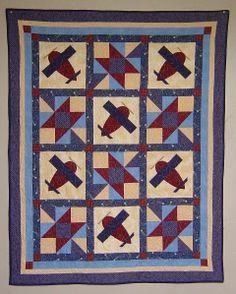 baby boy quilt patterns | Baby Boy Airplane Quilt PATTERN - PDF - throw quilt - boy - EASY. $5 ...