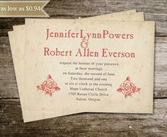 wedding invitations online - custom rustic vintage coral rose