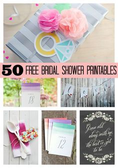 We've rounded up our 50 FREE Bridal Shower Printables. See them all on www.prettymyparty.com.