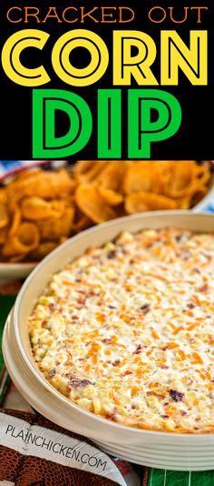 Cracked Out Corn Dip – OMG! Corn, cream cheese, sour cream, cheddar, bacon and Ranch. I took this to a party and it was the first thing to go! Can make ahead and refrigerate until ready to eat. Our FAVORITE dip! - Food and Drink Yummy Appetizers, Appetizers For Party, Appetizer Recipes, Dip Recipes For Parties, Tailgate Appetizers, Simple Appetizers, Spanish Appetizers, Make Ahead Appetizers, Chicken Appetizers