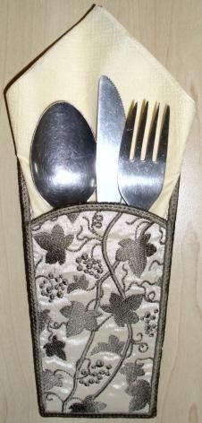 TDZ084 - Vine Silverware Holder - machine embroidery design - touchdezines