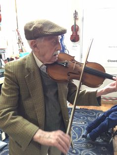 This is Charles Howell, our oldest customer at 94 years of age. He made our week by entertaining us with his tunes and stories :)