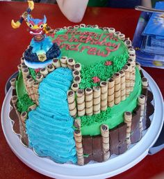 Skylander Swap Force Cake. Chocolate cake with dark chocolate mousse filling and homemade buttercream frosting.