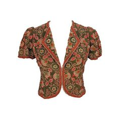 Schiaparelli bolero, Metropolitan museum ❤ liked on Polyvore featuring outerwear, jackets, bolero and tops