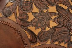 Tooled Leather with Leather Stitching