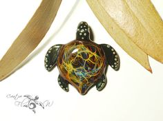 Glass Pendant  Rainbow Galaxy Turtle Pendant  by CreativeFlowGlass
