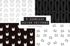 Cats Seamless Patterns Set of 4 by Youandigraphics on Cat Pattern, Vector Pattern, Pattern Art, Business Brochure, Business Card Logo, Graphic Patterns, Graphic Design, Creative Sketches, Pencil Illustration