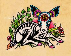 Day of the Dead DEER Fawn Dia de los Muertos Art Print 5 x 7, 8 x 10 or 11 x 14