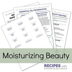1 Pack Moisturizing Beauty: Make & Take Party Printable Pack (4 recipes)
