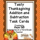 24 Thanksgiving Themed Task Cards to Review 2 and 3 Digit Addition and Subtraction
